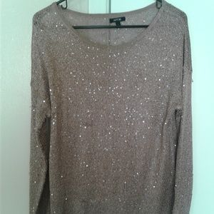 Long sleeved brown sparkly top